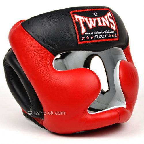 Twins 2 Tone Closed Face Head Guard - Red/Black